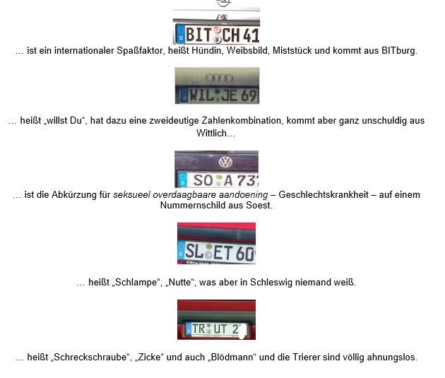 nummernschilder weiss - Systematische Meinungsverschiedenheiten im Schilde